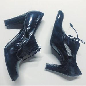Stuart Weitzman Blue Patent Leather Cutout Booties